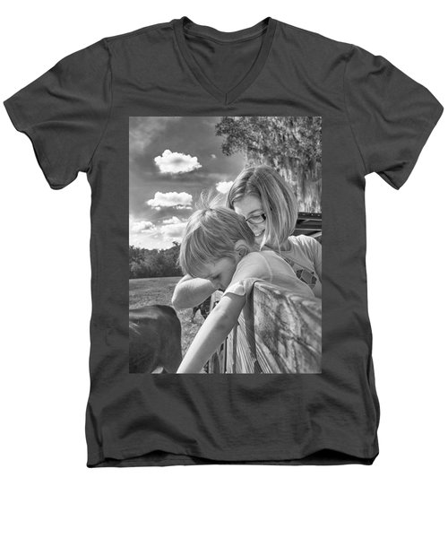 Men's V-Neck T-Shirt featuring the photograph Reaching by Howard Salmon