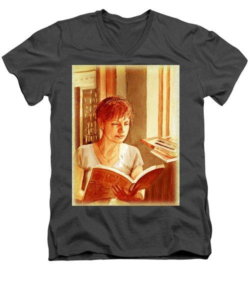 Reading A Book Vintage Style Men's V-Neck T-Shirt by Irina Sztukowski