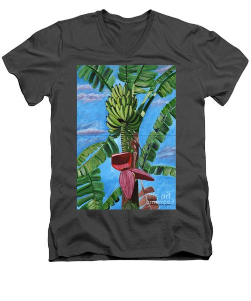 Men's V-Neck T-Shirt featuring the painting Ready For Harvest by Laura Forde