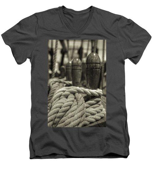 Ready For Work Black And White Sepia Men's V-Neck T-Shirt