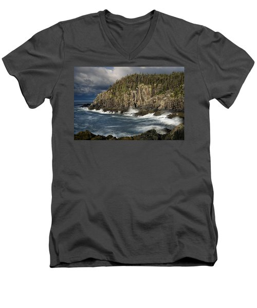 Men's V-Neck T-Shirt featuring the photograph Receding Storm At Gulliver's Hole by Marty Saccone