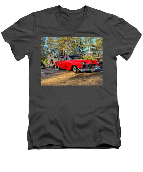 Red '55 Chevy Wagon Men's V-Neck T-Shirt by Michael Pickett