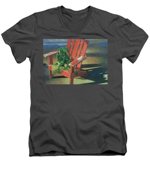 Red Adirondack Chair Men's V-Neck T-Shirt