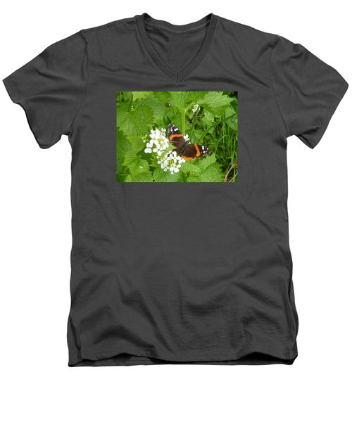 Men's V-Neck T-Shirt featuring the photograph Red Admiral Butterfly by Lingfai Leung