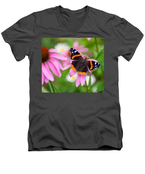 Men's V-Neck T-Shirt featuring the photograph Red Admiral Butterfly by Patti Deters