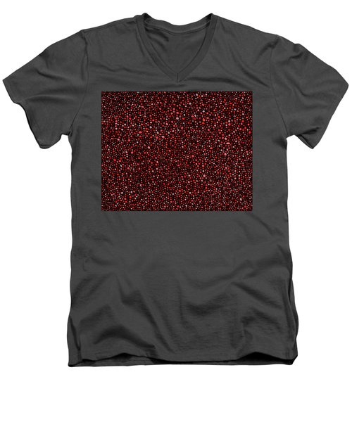 Red And Black Circles Men's V-Neck T-Shirt by Janice Dunbar