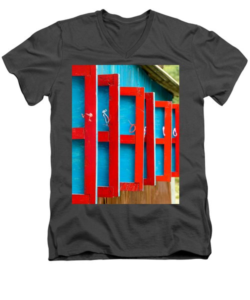 Red And Blue Wooden Shutters Men's V-Neck T-Shirt