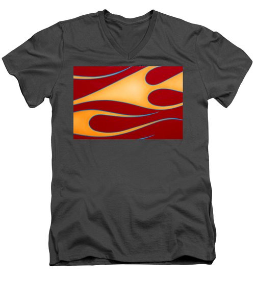 Men's V-Neck T-Shirt featuring the photograph Red And Gold by Joe Kozlowski