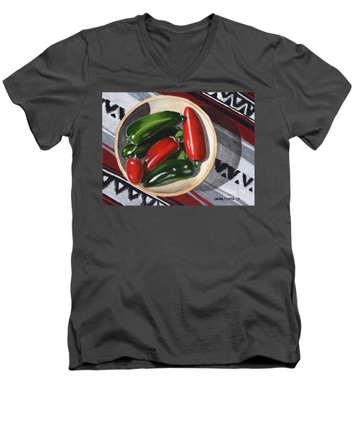 Men's V-Neck T-Shirt featuring the painting Red And Green Peppers by Laura Forde