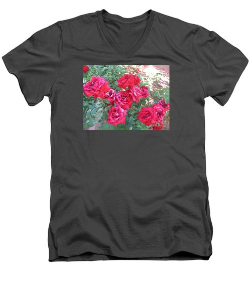 Men's V-Neck T-Shirt featuring the photograph Red And Pink Roses by Chrisann Ellis