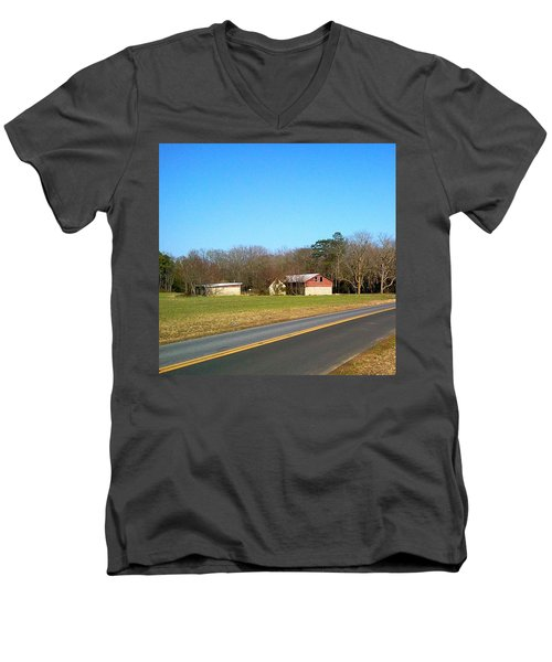 Red And White Barn With Trees Men's V-Neck T-Shirt by Amazing Photographs AKA Christian Wilson