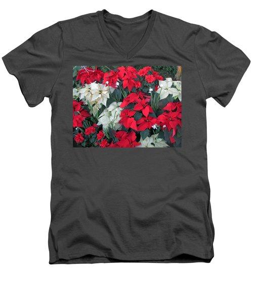 Red And White Poinsettias Men's V-Neck T-Shirt
