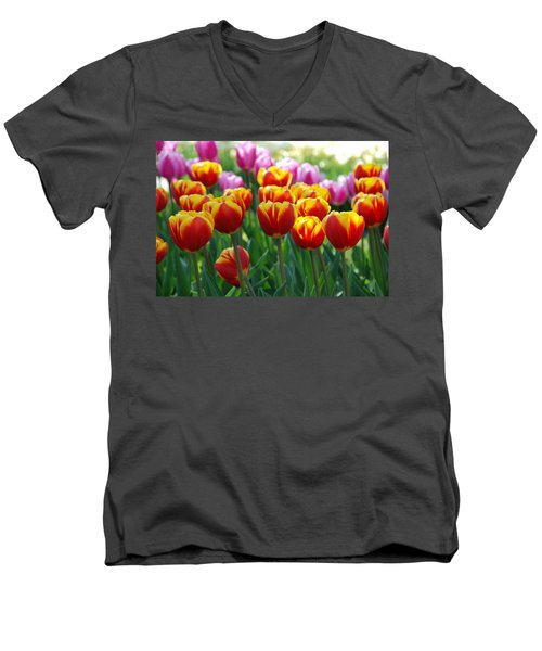 Men's V-Neck T-Shirt featuring the photograph Red And Yellow Tulips  by Allen Beatty