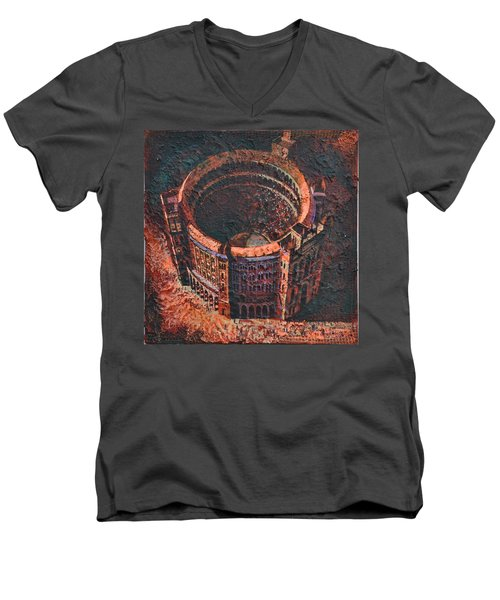 Men's V-Neck T-Shirt featuring the painting Red Arena by Mark Howard Jones