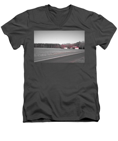 Men's V-Neck T-Shirt featuring the photograph Red Barn  by Amazing Photographs AKA Christian Wilson