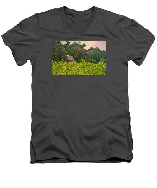 Red Barn Among The Sunflowers Men's V-Neck T-Shirt by Sandi OReilly