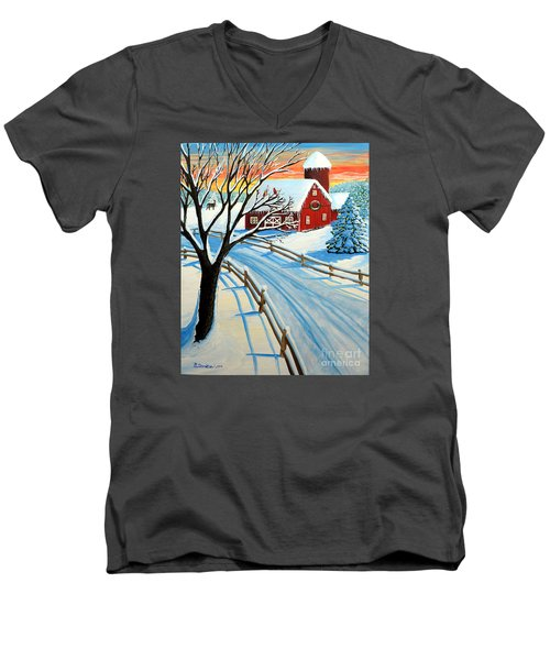 Red Barn In Winter Men's V-Neck T-Shirt by Patricia L Davidson