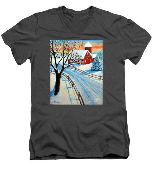 Red Barn In Winter Men's V-Neck T-Shirt
