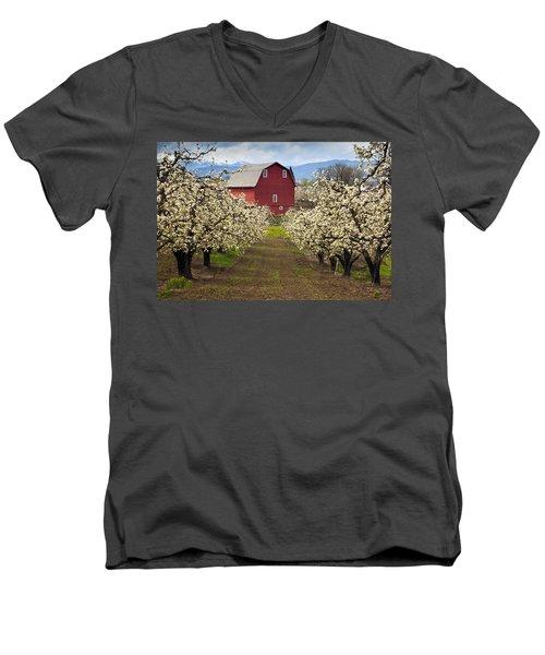 Red Barn Spring Men's V-Neck T-Shirt
