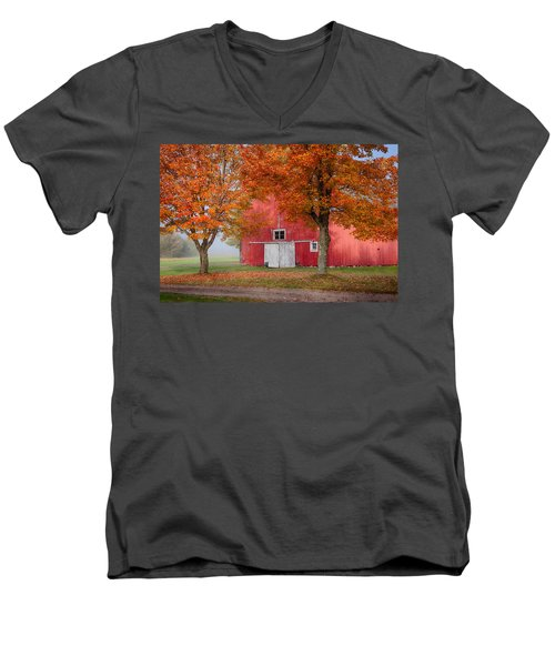 Men's V-Neck T-Shirt featuring the photograph Red Barn With White Barn Door by Jeff Folger
