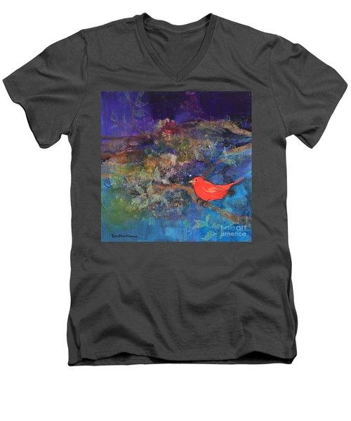 Red Bird Men's V-Neck T-Shirt by Robin Maria Pedrero