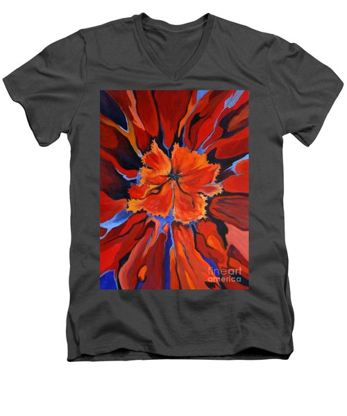 Men's V-Neck T-Shirt featuring the painting Red Bloom by Alison Caltrider