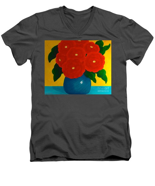 Red Bouquet Men's V-Neck T-Shirt by Anita Lewis