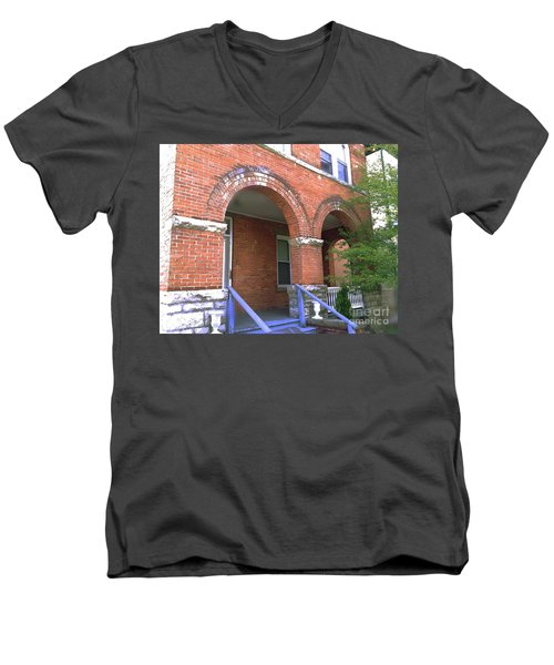 Men's V-Neck T-Shirt featuring the photograph Red Brick Archway by Becky Lupe