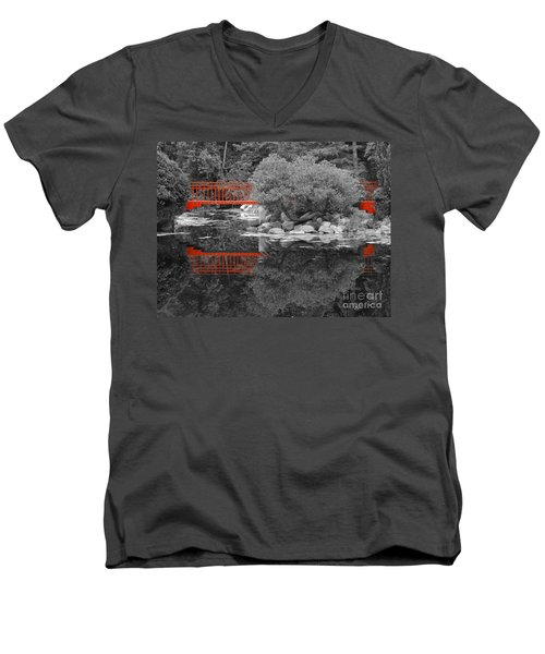 Red Bridge Black And White Men's V-Neck T-Shirt
