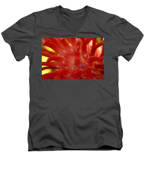 Men's V-Neck T-Shirt featuring the photograph Red Bromeliad by Greg Allore