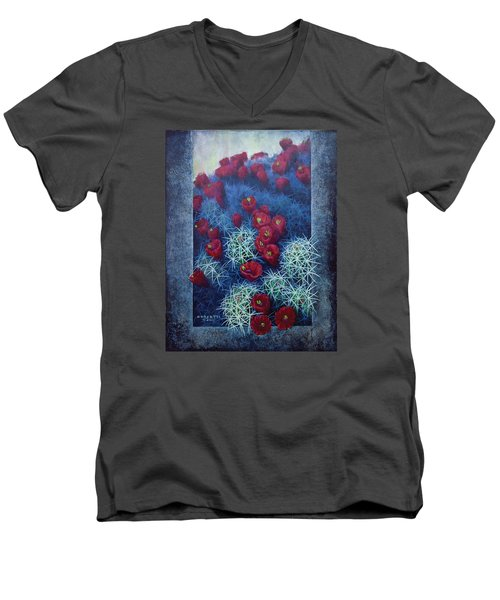 Men's V-Neck T-Shirt featuring the painting Red Cactus by Rob Corsetti