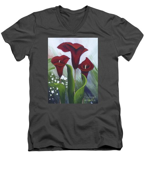 Red Calla Lilies Men's V-Neck T-Shirt