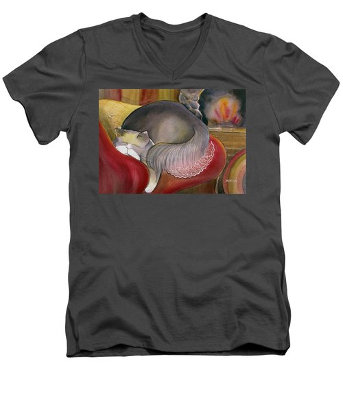 Sleeping Persian Cat On Red Sofa Men's V-Neck T-Shirt