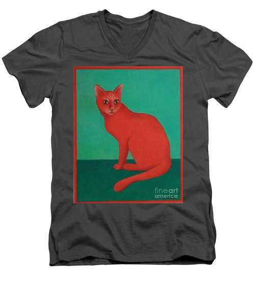 Men's V-Neck T-Shirt featuring the painting Red Cat by Pamela Clements