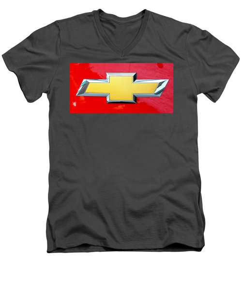 Red Chevy Bowtie Men's V-Neck T-Shirt