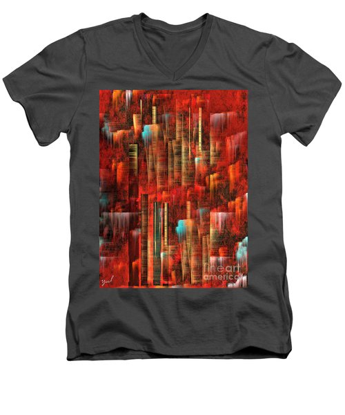 Men's V-Neck T-Shirt featuring the painting Concrete Jungle by Yul Olaivar