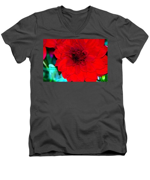 Men's V-Neck T-Shirt featuring the photograph Red Dahlia by Lehua Pekelo-Stearns