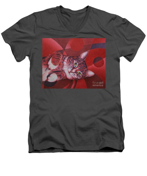 Men's V-Neck T-Shirt featuring the painting Red Feline Geometry by Pamela Clements