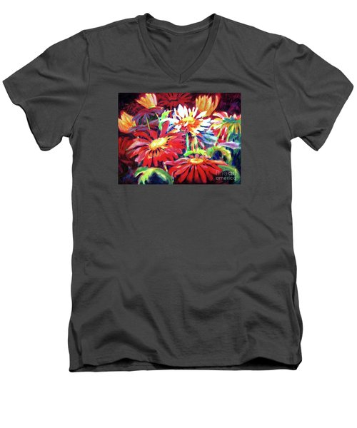 Red Floral Mishmash Men's V-Neck T-Shirt