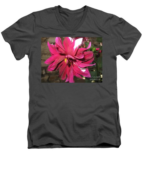 Red Flower In Bloom Men's V-Neck T-Shirt by HEVi FineArt