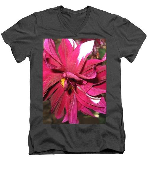 Red Flower In Bloom Men's V-Neck T-Shirt