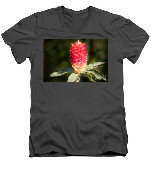 Men's V-Neck T-Shirt featuring the photograph Red Flower by John Wadleigh