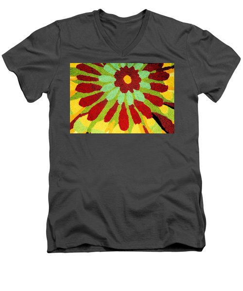 Men's V-Neck T-Shirt featuring the photograph Red Flower Rug by Janette Boyd