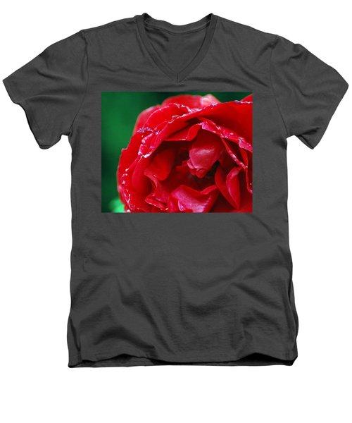 Men's V-Neck T-Shirt featuring the photograph Red Flower Wet by Matt Harang