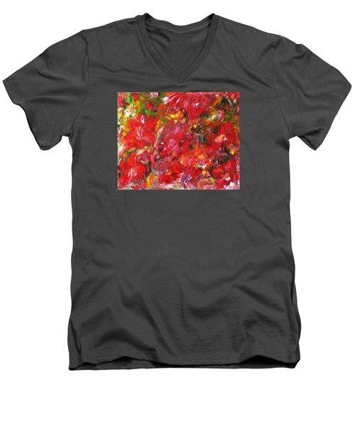 Red Flowers Men's V-Neck T-Shirt