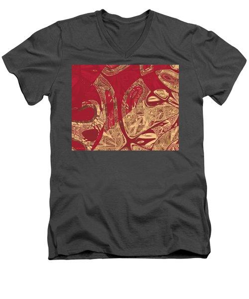 Red Geranium Abstract Men's V-Neck T-Shirt