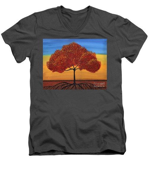 Red Happy Tree Men's V-Neck T-Shirt