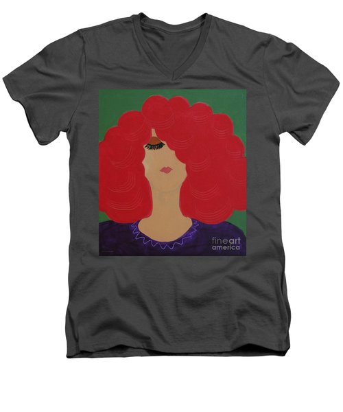 Red Head Men's V-Neck T-Shirt by Anita Lewis