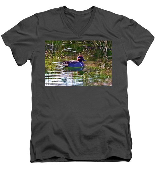 Red Headed Duck Men's V-Neck T-Shirt by Susan Garren