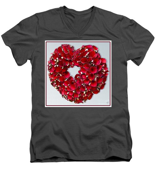 Men's V-Neck T-Shirt featuring the photograph Red Heart Wreath by Victoria Harrington